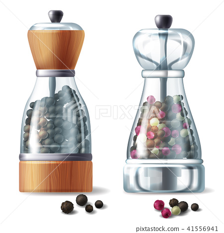 Vector set of two pepper mills with peppercorns 41556941