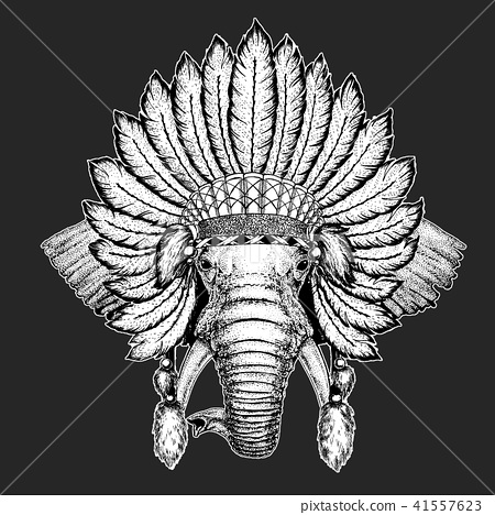 32b9a8e33940b African or indian Elephant Traditional ethnic indian boho headdress Tribal  shaman hat Ceremonial