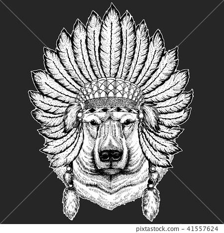 202ac270f2373 Big polar bear, White bear Traditional ethnic indian boho headdress Tribal  shaman hat Ceremonial