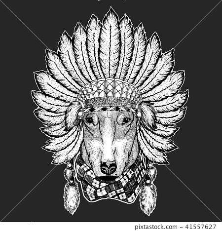e043de68d2d79 DOG for t-shirt design Traditional ethnic indian boho headdress Tribal  shaman hat Ceremonial element