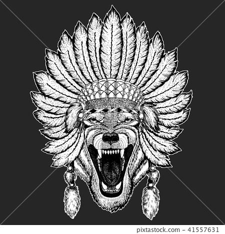 Wolf Dog Wild animal Traditional ethnic indian boho headdress Tribal shaman hat Ceremonial element 41557631
