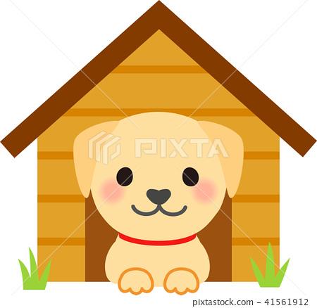 拉布拉多獵犬在狗窩裡 41561912
