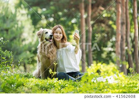젊은여자, 개, 강아지, 애완동물, 골든 리트리버 41562608