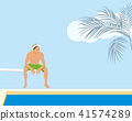 Man sitting on springboard at the swimming pool 41574289