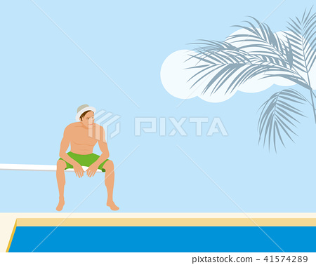 Man sitting on springboard at the swimming pool 41574289