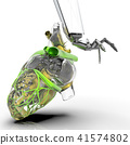 Human heart 3d model with a robot hand 3d rendering 41574802