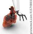 Human heart 3d model with a robot hand 3d rendering 41574803