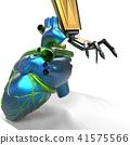 Human heart 3d model with a robot hand 3d rendering 41575566