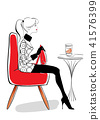 在咖啡馆的红色被塑造的沙发 41576399