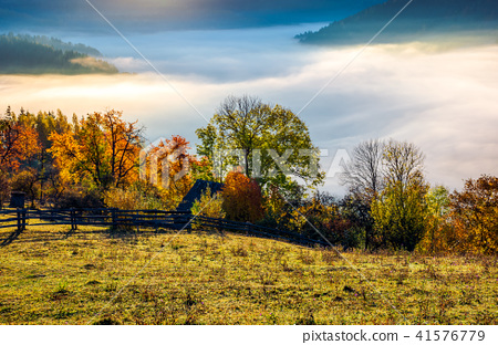 autumn countryside with valley full of thick fog 41576779