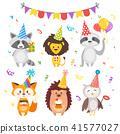 animals in festive cone hats 41577027