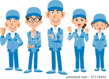 穿藍色工作服的工作人員隊 41578990