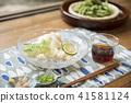 吃邊緣大豆Edamame的Somen麵條麵條 41581124