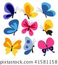 Hand drawn butterflies set 41581158