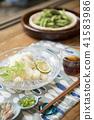 吃邊緣大豆Edamame的Somen麵條麵條 41583986