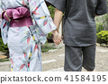 A summer image Yukata and a man and a hand linking hands with Shinpei 41584195