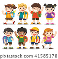 Back to school. Cute kids go to school. 41585178