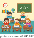 Happy students studying in classroom. 41585187