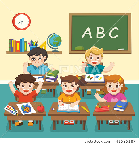 happy students studying in classroom �������� 41585187