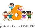 School kids and colorful number six shaped. 41585197
