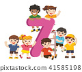 School kids and colorful number Seven shaped. 41585198