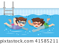 little Boy and Girl swimming in the swimming pool. 41585211