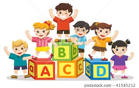 Happy school kids with alphabet blocks. 41585212