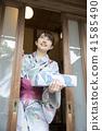 ภาพฤดูร้อนภาพผู้หญิง Yukata ของ Nakamoto การเข้าออกไป 41585490