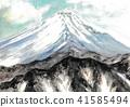 富士山 水彩 水彩画 41585494