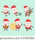 Santa Claus illustration. Vector Christmas set.  41585882