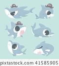 Cartoon shark collection set. 41585905