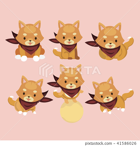 Shiba Inu Dog Cartoon Set Vector. 41586026