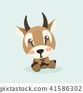 Cute cartoon antelope on pastel background. 41586302