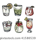 Hand drawn illustration of set of cocktails. 41586539