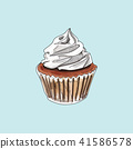 vector cupcake muffins on pastel background. 41586578