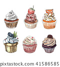 Set of hand drawn cupcakes on white background. 41586585