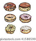 Set of cartoon colorful donuts isolated. 41586599
