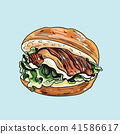 Vector drawing of burger on pastel background. 41586617