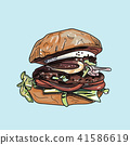 Vector drawing of burger on pastel background. 41586619