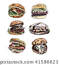 Set of cartoon vector burger on white background. 41586623