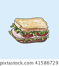 Vector Sandwich illustration on pastel background. 41586729