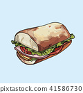 Vector Sandwich illustration on pastel background. 41586730