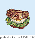 Vector Sandwich illustration on pastel background. 41586732