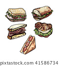 Set of delicious sandwich illustrations. 41586734