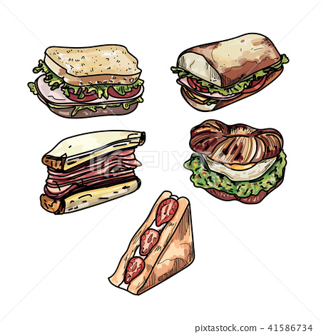 Set of delicious sandwich illustrations. 41586734