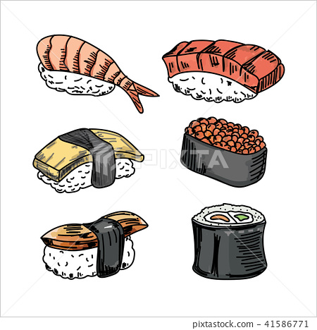 Vector collection of Sushi on white background. 41586771