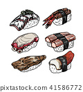 Vector collection of Sushi on white background. 41586772