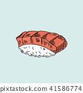 Sushi on pastel background. 41586774