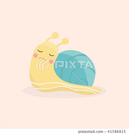 Cute snail cartoon vector isolated.  41586815