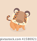 Cute little tiger on pastel background. 41586921